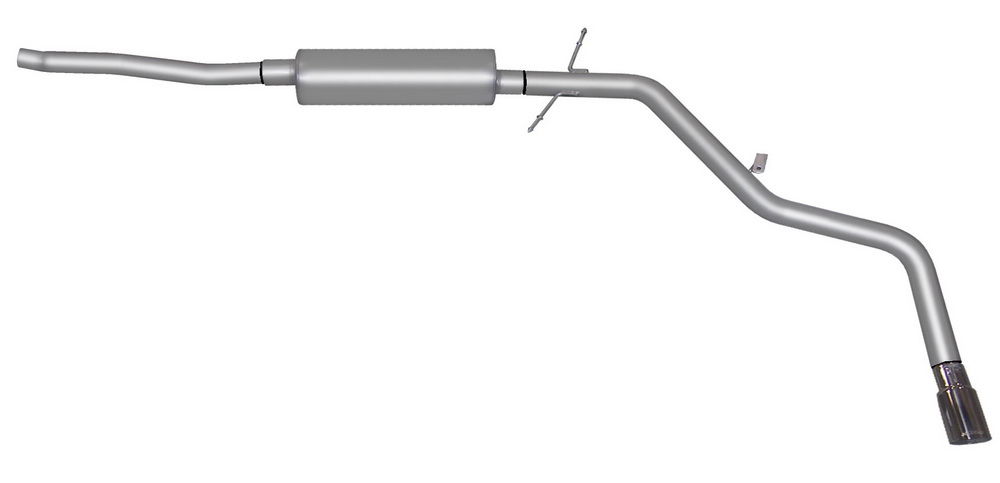 Gibson 12206 Cat-Back Single Exhaust System, 2.5 Inch Single Kit, Aluminized Steel, 2.5 Inch Tubing, Driver Side Exit Behind Rear Tire, 3 Inch Polished Slash Cut Tip