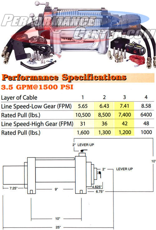 Mile Marker 10,500 lb. 2 Speed Hydraulic Winch